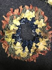 "HANDMADE 12"" 4 LAYER RAG WREATH COUNTRY RUSTIC PRIMITIVE - Red, Yellow & Blue"