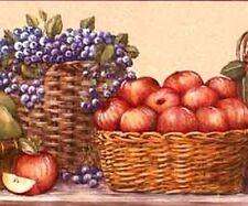 1Roll Wallpaper Border Cornerstone Basket Fruit Grapes Prepasted 5yds DX32A/10