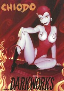 "JOE CHIODO ""DARKWORKS"" LA LUZ DE JESUS GALLERY 2005 PROMOTIONAL POSTCARD - DEVIL"