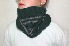 Harry Potter  Cowl Scarf/Neck Warmer Slytherin School Colors-  Hand Knit Scarf