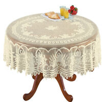 Vintage Beige Floral Tablecloth Round Lace Table Cover Wedding Home Decor 70''