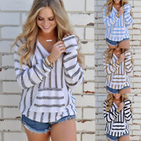 NEW Women Striped Hooded Pullover Jumper Loose Tops Knitted Sweater V Neck Shirt