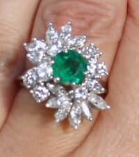 High quality 3.70 ct diamond and emerald ring 18 k white gold