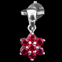 100% NATURAL RHODOLITE GARNET GENUINE GEM FLOWER STERLING SILVER 925 PENDANT