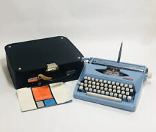 Vintage Royal Parade 1964 Typewriter With Case. GREAT SHAPE Light Blue & Red