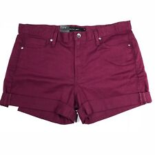 "Calvin Klein Jeans Womens 14 x 3.5"" Denim Cuffed Shorts Purple Currant Stretch"