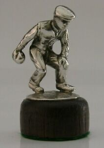 UNUSUAL SOLID CAST STERLING SILVER BOWLING FIGURE SPORTING ANTIQUE c1940 44g