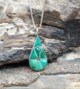 Vintage Sterling Silver Turquoise Inlay Teardrop Pendant Necklace Navajo Zuni...