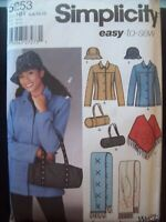 Simplicity Pattern 5253 Easy Jacket, Poncho, Hat, Bag, Scarf Sizes 6-12 UC/NOS