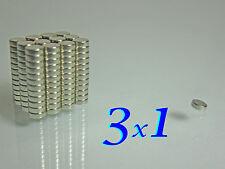 100 CALAMITE MAGNETI NEODIMIO 100  pezzi    3X1 mm   SUPER POTENTI magnete.
