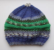 Newly hand-knitted Baby Hat - Self-striping Blue and Green