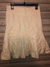 Anthropologie Elevenses 100% Linen midi Length Beige Tan Skirt Size 4 Flare
