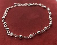 "Vintage Sterling Silver Bracelet 925 8"" To 9"" Chain Ball"