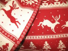 RED & WHITE NEW Knitted Throw Blanket Soft Sofa Cover 100% Cotton NIP Deer Snow