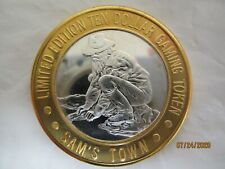 silver gaming token .999 the old prospector 1993 sam's town unc , gold plated st
