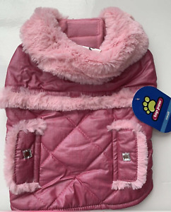 Top Paw Pink Quilted Pet Dog Coat with Fur Size S, M, L NWT