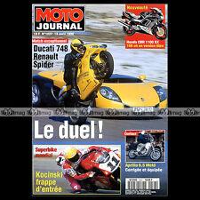 MOTO JOURNAL N°1227 APRILIA 6.5 STARCK DUCATI 748 RENAULT SPIDER HONDA SPAZIO 96