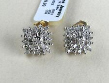 10k Y & W Gold Square Diamond Earrings--Baguettes & Rounds .25 TCTW--Free Ship!