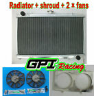 aluminum radiator for Nissan Silvia S13 SR20DET 89-94 MT 90 91 +shroud + fans