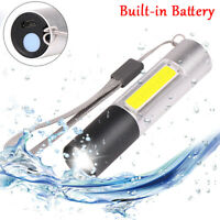 50000LM COB+LED Flashlight USB Rechargeable 3 Modes Zoom Torch Built-in Battery