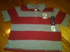 NWT TODDLER BOYS GRAY & MAROON STRIPED SS POLO SHIRT FADED GLORY SIZE 24 MONTHS