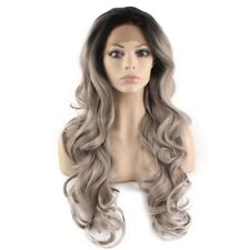 Long Wavy Black Gray Two Tone Lace Front Ombre Wig