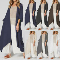 Women Summer Long Tunic Jacket Coat Kimono Outerwear Cover Up Plus Size Cardigan