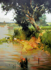 """VYTAUTAS LAISONAS ORIGINAL CANVAS """"On the River Bank"""" Water lake OIL PAINTING"""