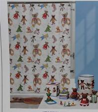 Little Friends Whimsical Bears & Script on Tablet Fabric Shower Curtain Nip Cute