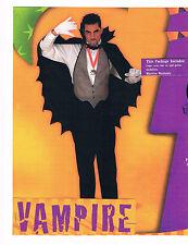 VAMPIRE HALLOWEEN COSTUME CAPE VEST GOTHIC MEDALLION BAT TIE DRACULA MONSTER NEW