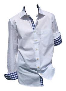 Hemden Herren Freizeithemd Business Baumwoll Weiß Trachten Büro Freizeit S o 2XL