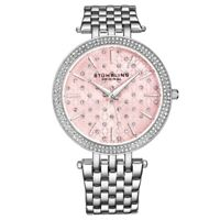 Stuhrling 3962 3 Symphony Quartz Crystal Accented Stainless Steel Womens Watch