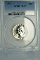PR67 1952 PCGS GRADED SILVER WASHINGTON QUARTER PROOF COIN RARE UNCIRCULATED