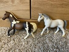 2x Schleich Horses - Screwball And Grey Ponies