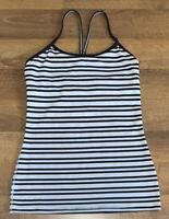 Lululemon Striped Stretch Tank Top w/Built in Bra Women's SMALL S Black & White
