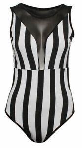 Ladies Mesh Insert Sleeveless Stripe Bodysuit Momochrome Leotard Halloween Juice