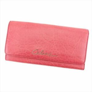 Celine Wallet Purse Long Wallet leather Pink Woman Authentic Used T8135