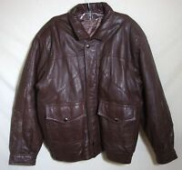 Vintage Leather BOMBER JACKET Brown Distressed Zip Front Lined Men XL 2XL NICE