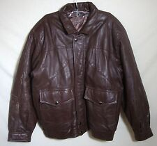 Vintage Bomber Jacket Brown Distressed Leather Zip Front Lined Men Size XL 2XL
