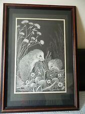 Marjorie Chadwick Harris print of Hedgehogs -1974