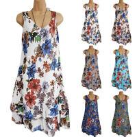 Plus Size Womens Summer Sleeveless  Boho Floral Casual Beach Maxi Dress Sundress