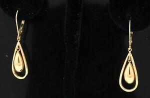 14K yellow gold elegant high fashion teardrop dangle earrings