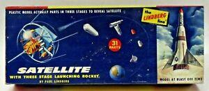 rare Lindberg 1004:98 SATELLITE w/3 STAGE LAUNCHING ROCKET model kit parts mint