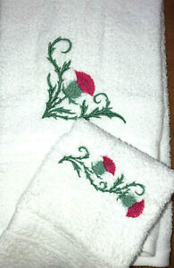 Embroidered White Bathroom  Hand Towel and Cloth     Thistle Flower Corner H1390
