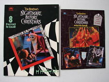 RARE UNUSED 2 DIFFERENT NIGHTMARE BEFORE CHRISTMAS 8 POSTERS TO COLOR BOOKS