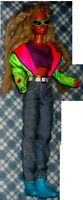 1 BAMBOLA VINTAGE 90 DOLL MUNECA SPORT SCI-BARBIE SCURA,CAPELLI RASTA HAIR,JEANS