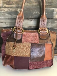 FOSSIL XL Leather Floral Embossed Tooled Brass Hobo Tote Shoulder Bag Purse RARE