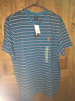 NWT,US Polo Assn Men's Short Sleeve V-Neck T-Shirt, XL, Aqua with b/w stripes