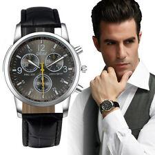 Mens Watches Crocodile Leather Stainless Steel Analog Quartz Wrist Watch U4I8