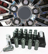 12MM X 1.5 JDM SPEC ALUMINUM GUNMETAL CLOSED END WHEEL LUG NUT+ KEY & SOCKET SET